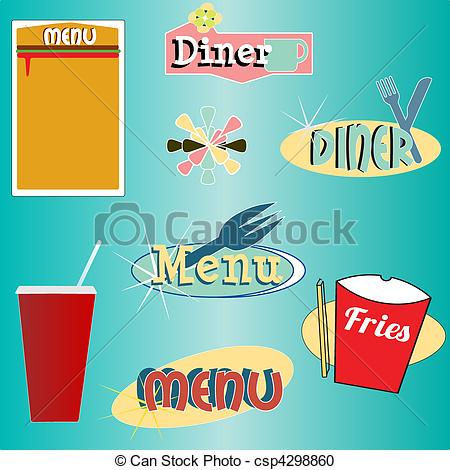 Vector Clipart of retro style menu and diner vector set.