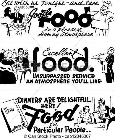 Clip Art Vector of Vector Retro Diner Advertising Graphics.