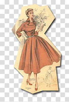 Retro vintage fashion, woman in red dress illustration.