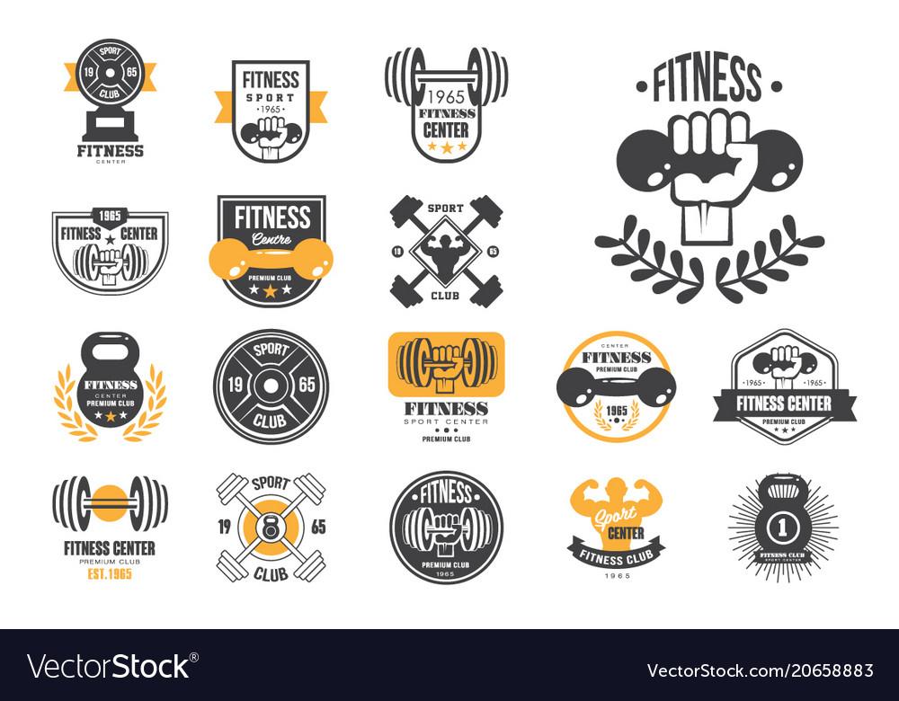Set of retro fitness logo templates.