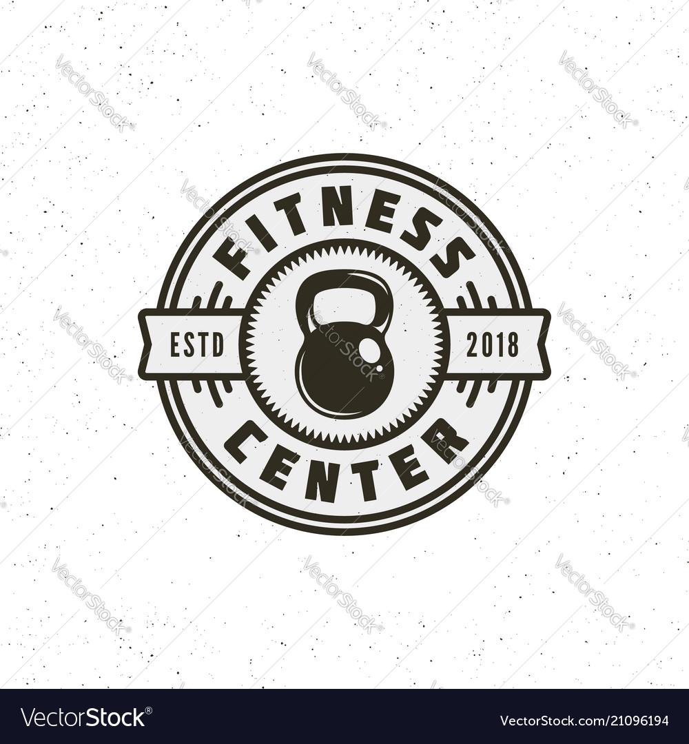 Vintage fitness gym logo retro styled sport.