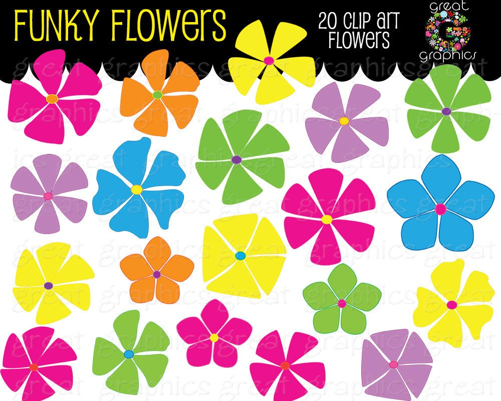 Retro Clipart Retro Flower Clipart Digital Retro Clip Art Flower.