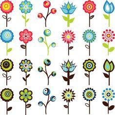 Retro Flowers Clip Art.