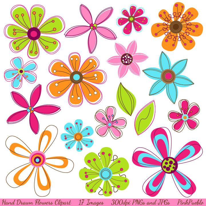Hand Drawn Flowers Clipart Clip Art, Pink Retro Flowers Clip Art.