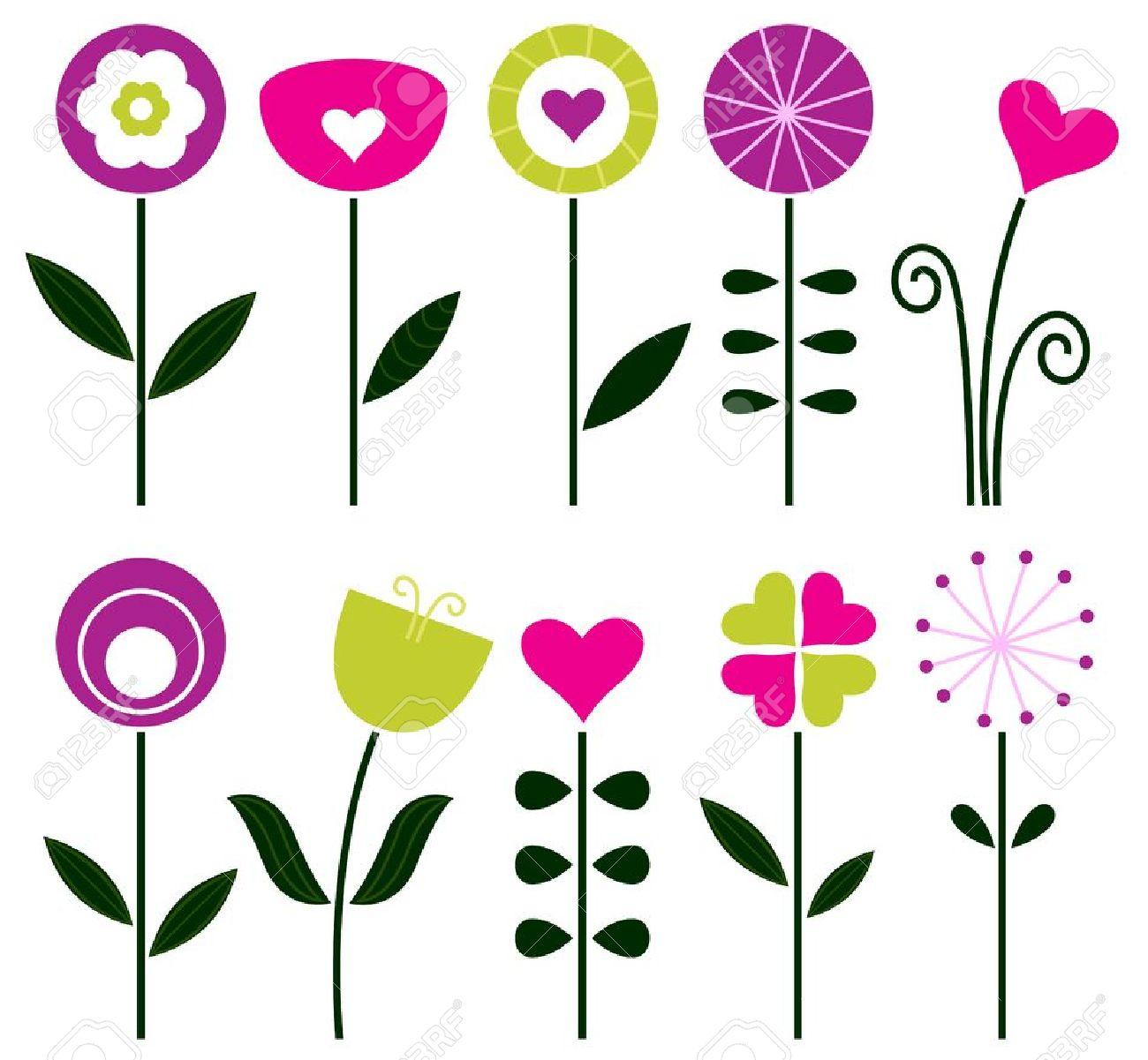 Retro Flowers Set Isolated On White. Vector Illustration Royalty.