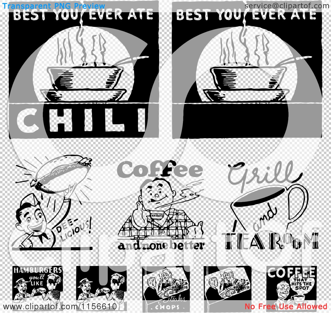 Clipart of Black and White Retro Coffee and Food Signs.