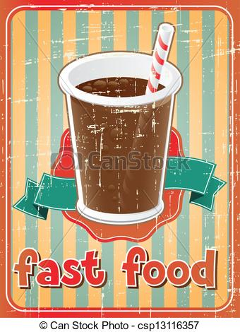 Clipart Vector of Fast food background with drink in retro style.
