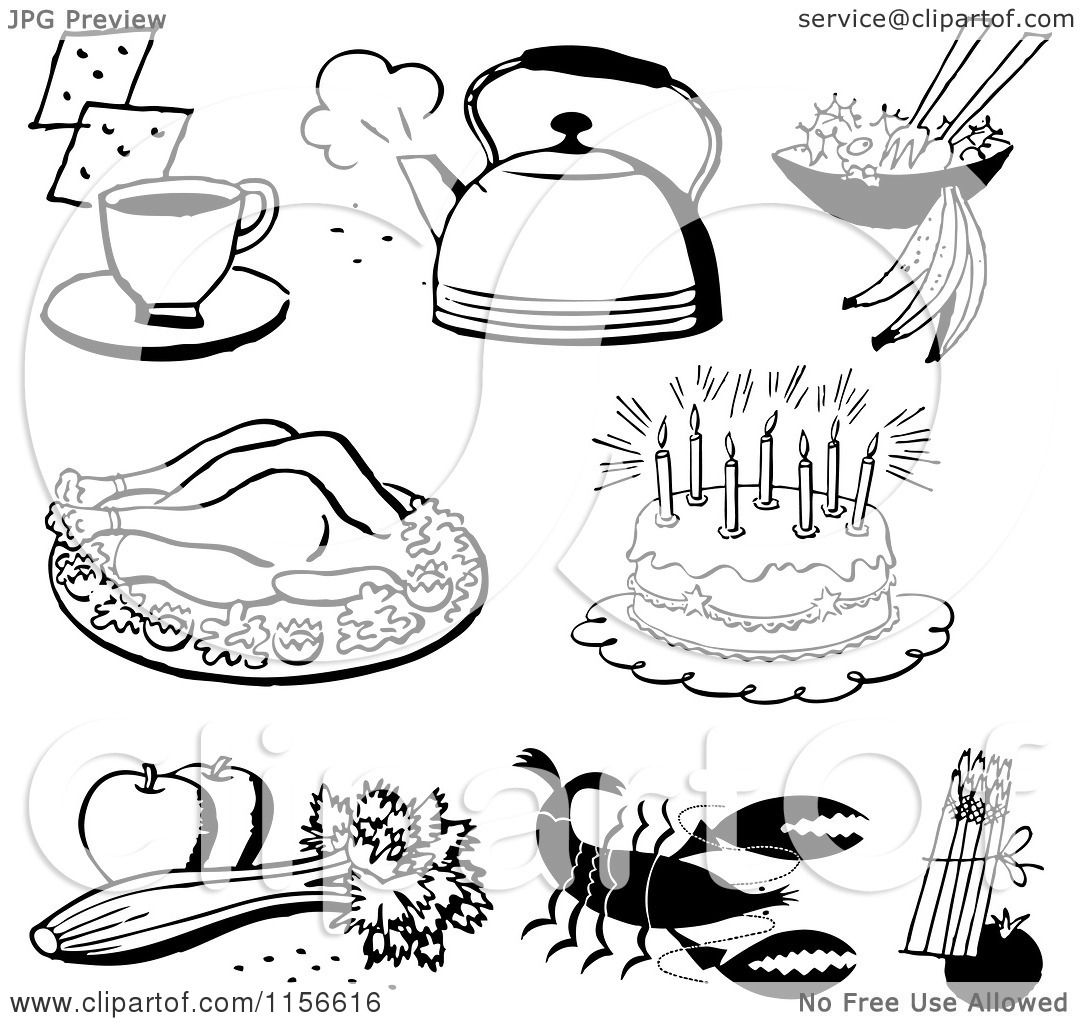 Clipart of Black and White Retro Foods.