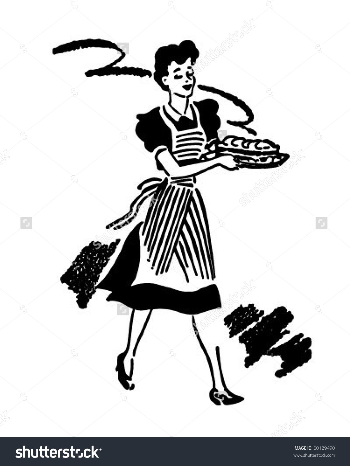 Waitress Serving Food Retro Clip Art Stock Vector 60129490.