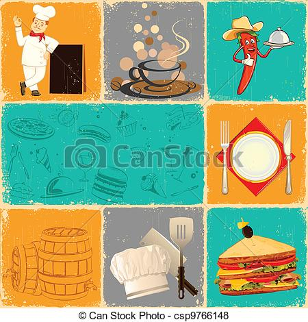 Vector of Retro Food Collage.