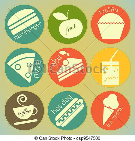 Clipart Vector of Set of Retro Food Labels.