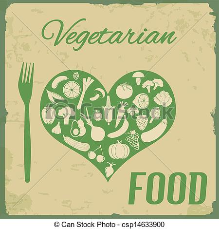 Vector Clipart of Retro Vegetarian Food poster.