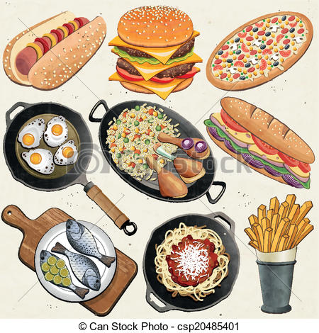 Vector Clipart of Realistic illustration food.