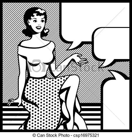 Vector Illustration of Illustration of retro girl in pop art style.