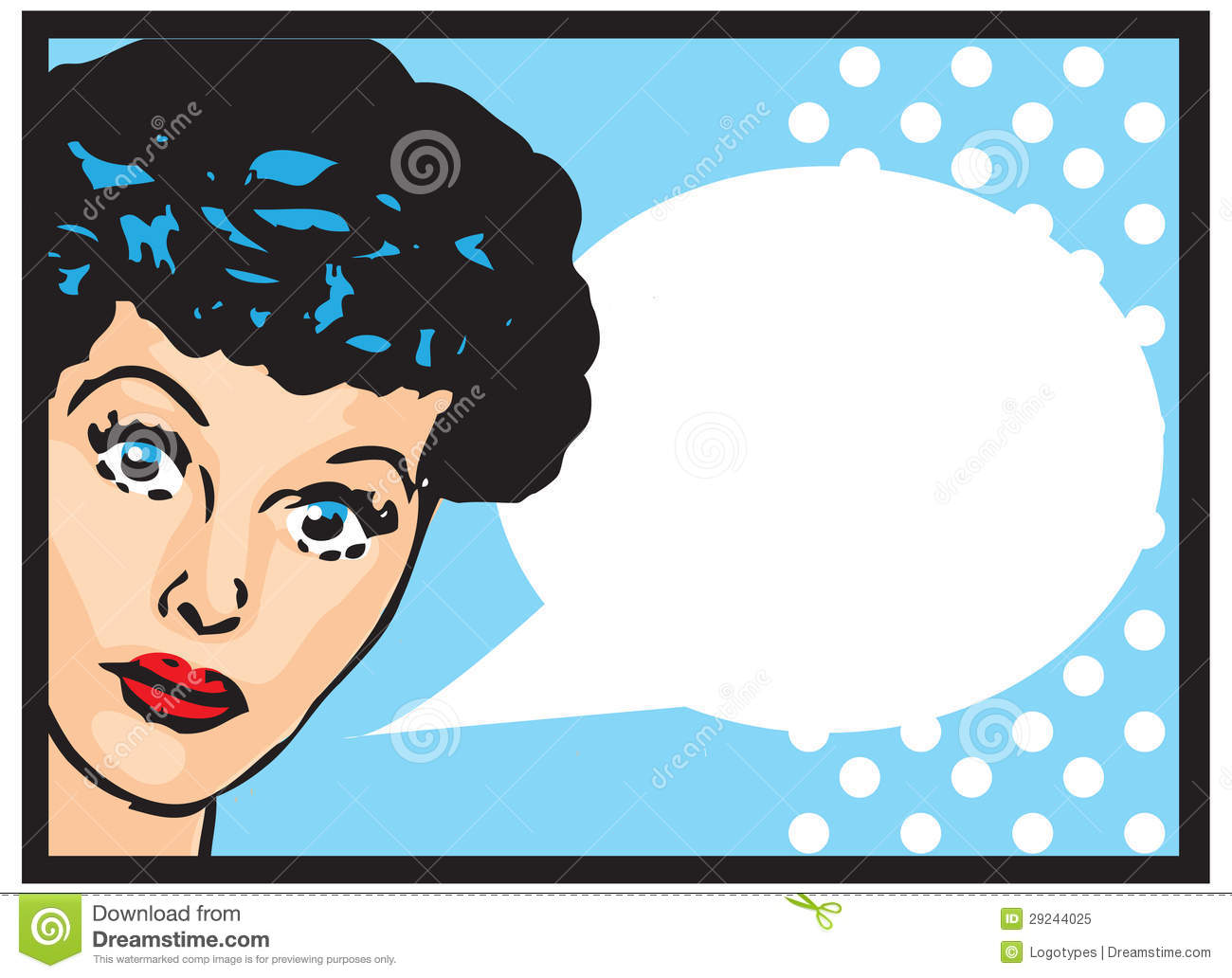 Vintage Retro Clip Art Woman Advertisement Pop Art Girl Talking.
