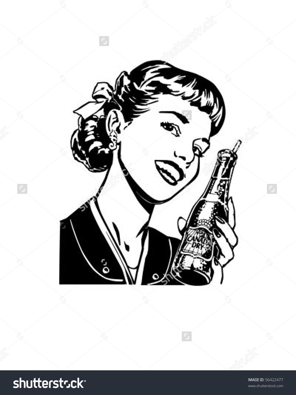 Girl Soda Retro Clip Art Stock Vector 56422477.