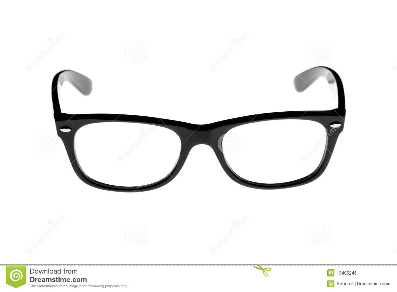 Black rimmed retro glasses.
