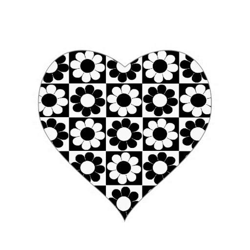 Black & White Retro Heart.