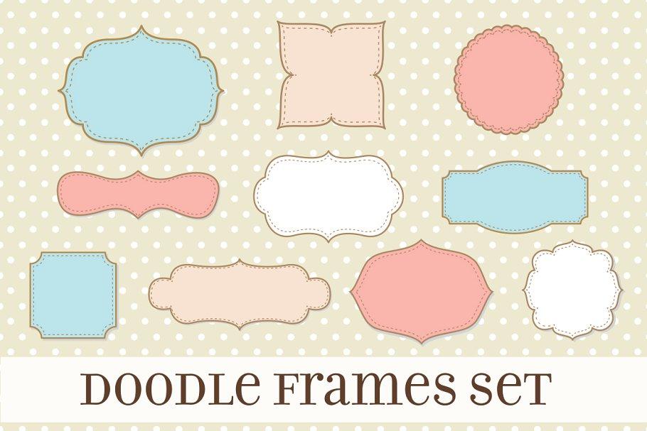 Retro Label Frames Shapes Set No 17.