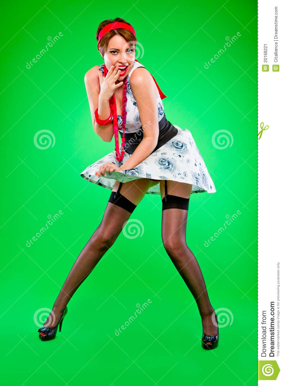 Retro Ladies With Dress Blowing Up Clipart.