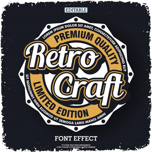 Retro logo design with vintage style emblem Vector.