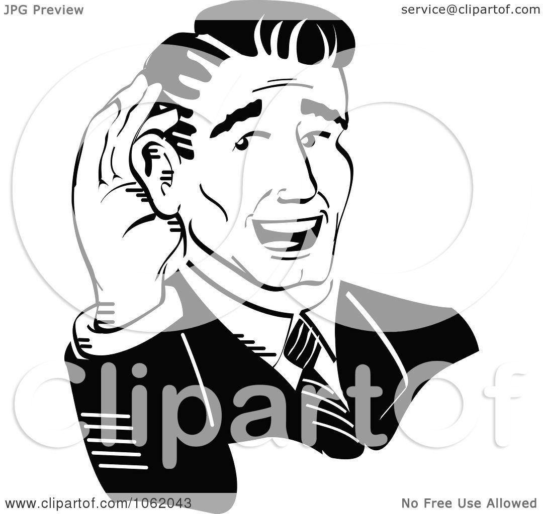 Clipart Retro Businessman Cupping His Ear Black And White.