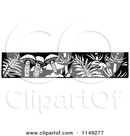 Clipart of Retro Vintage Black and White Mushrooms.