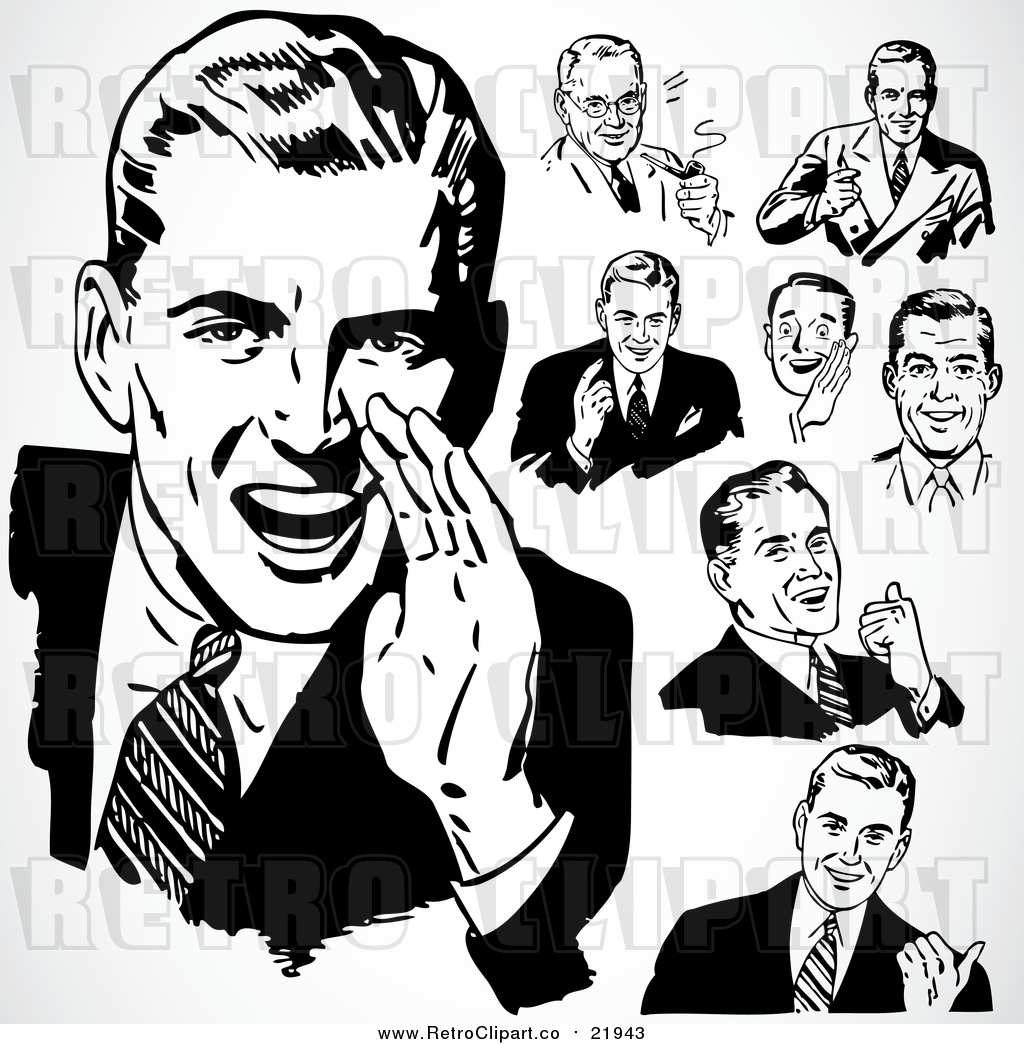 Vector Clipart of Retro People Talking Businessmen by.