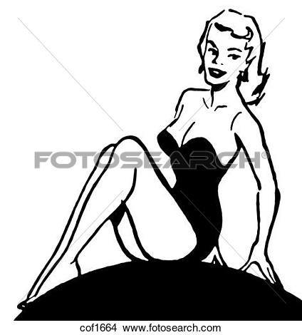 Drawings of A black and white version of a vintage pin up girl.