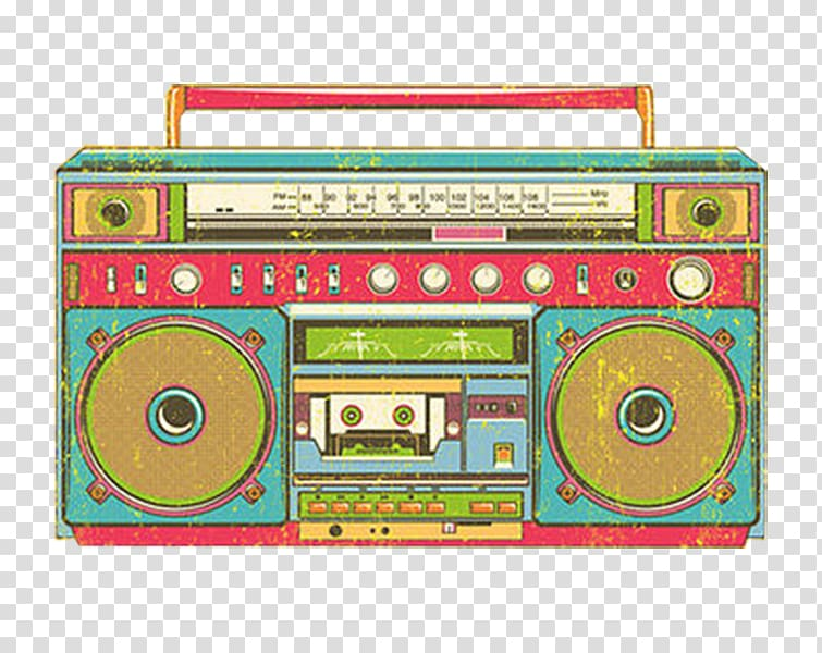 Green, brown, and white boombox graphic, Cork Radio.