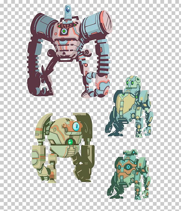 War Robots Battle droid Model sheet Illustration, Retro.
