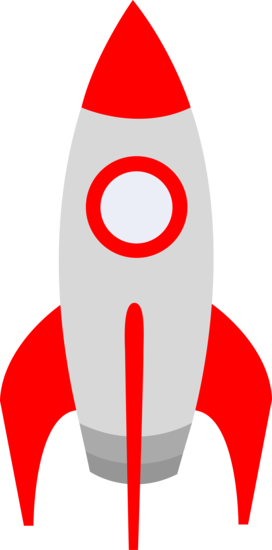 Free clip art of a cute red retro space rocket.