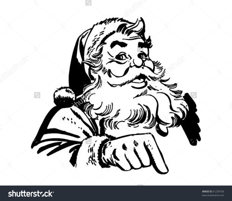Santa Claus Pointing Retro Clip Art Stock Vector 61239736.