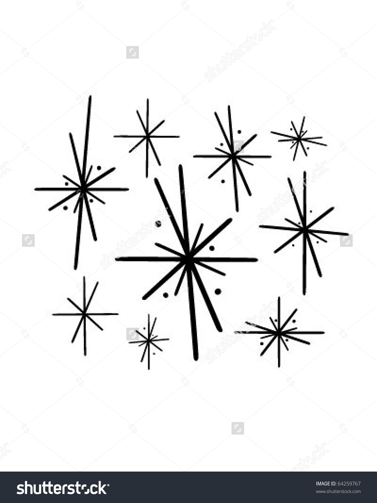 Retro Stars 2 Retro Clipart Stock Vector 64259767.