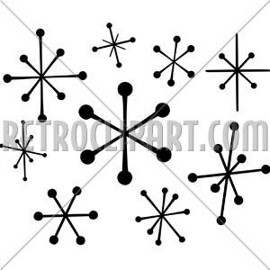 Retro Star Clip Art Cluster.