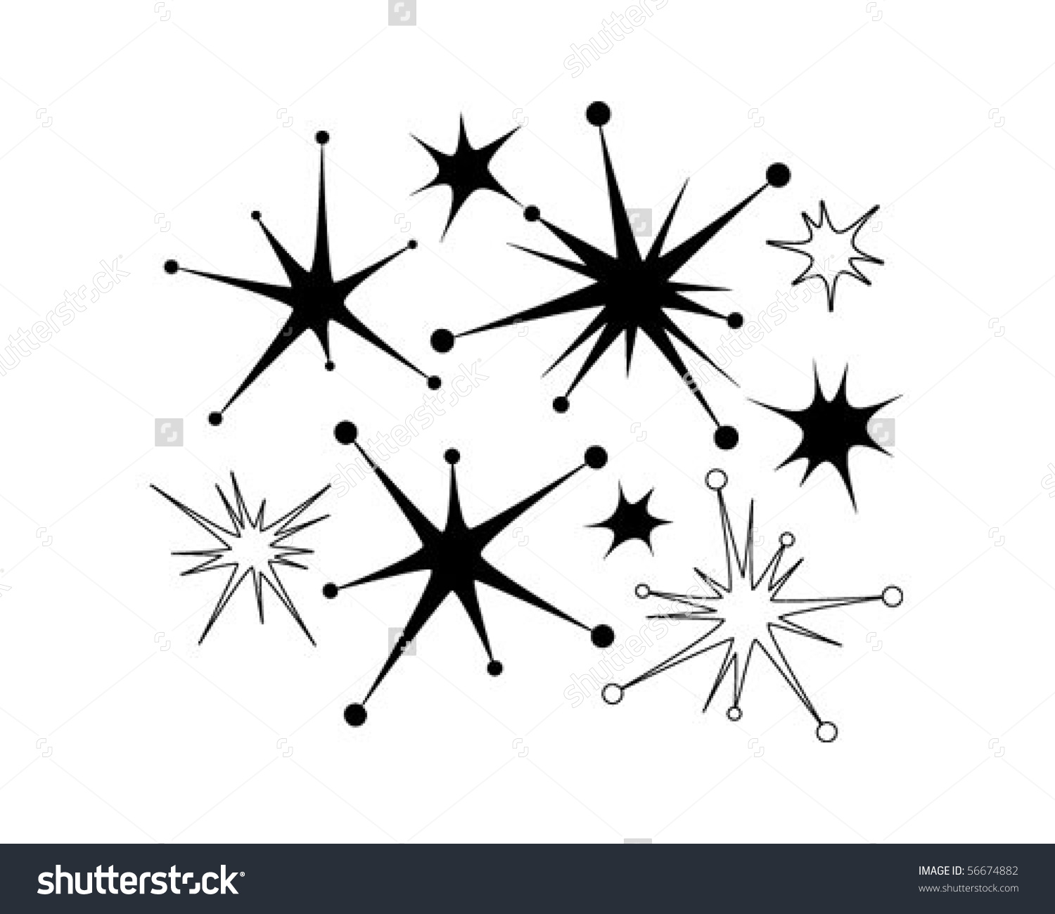 Retro Stars 9 Clip Art Stock Vector 56674882.