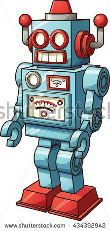 Retro Toy Robot Vector Clip Art Stock Vector 434392942.