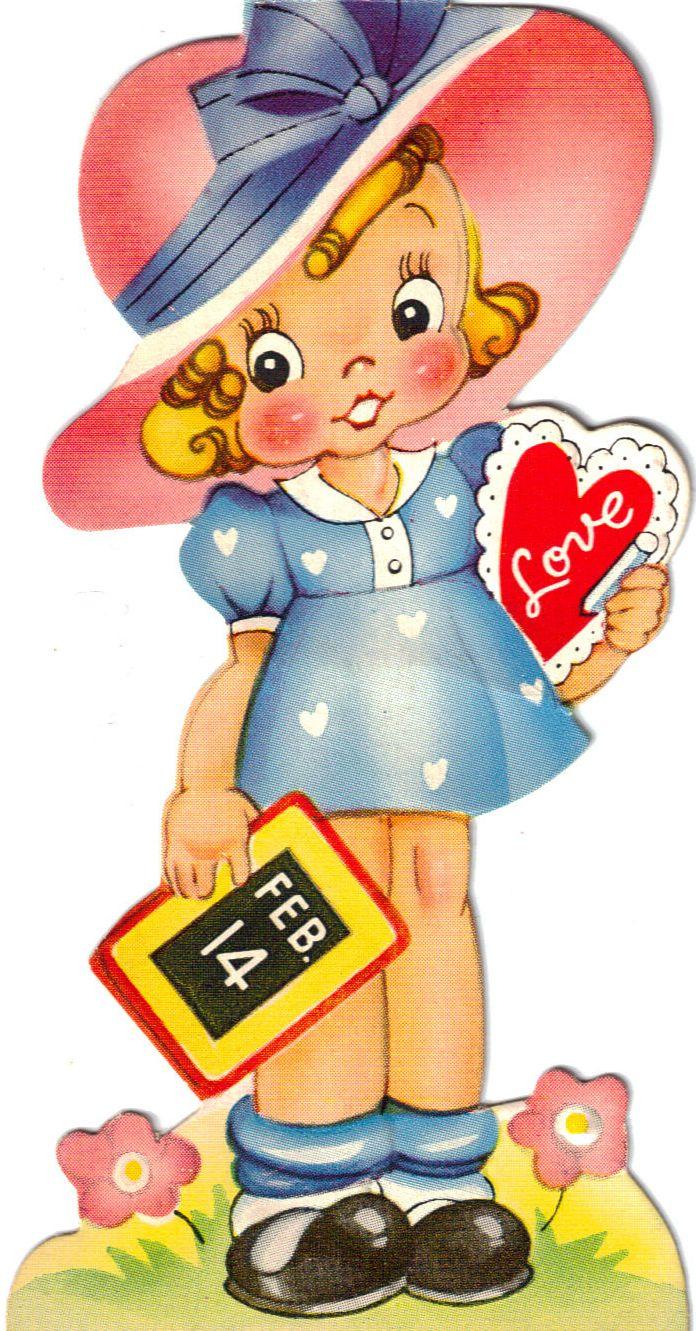Free freebie printable retro valentine girl.