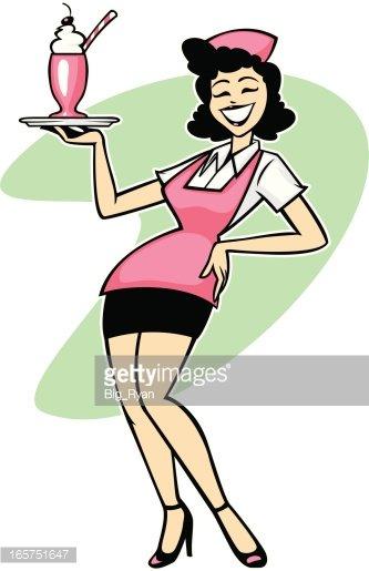 retro waitress Clipart Image.