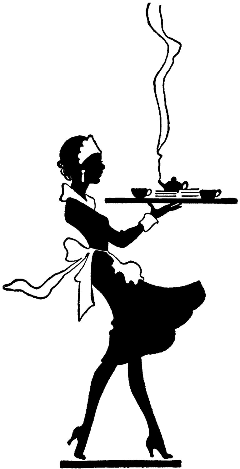 Vintage Black and White Waitress image.