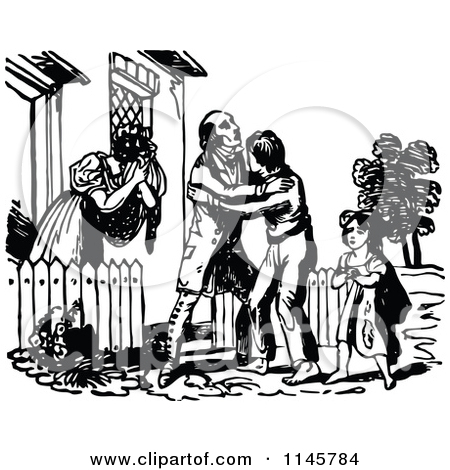 Clipart of a Retro Vintage Black and White Prodigal Son Returning.