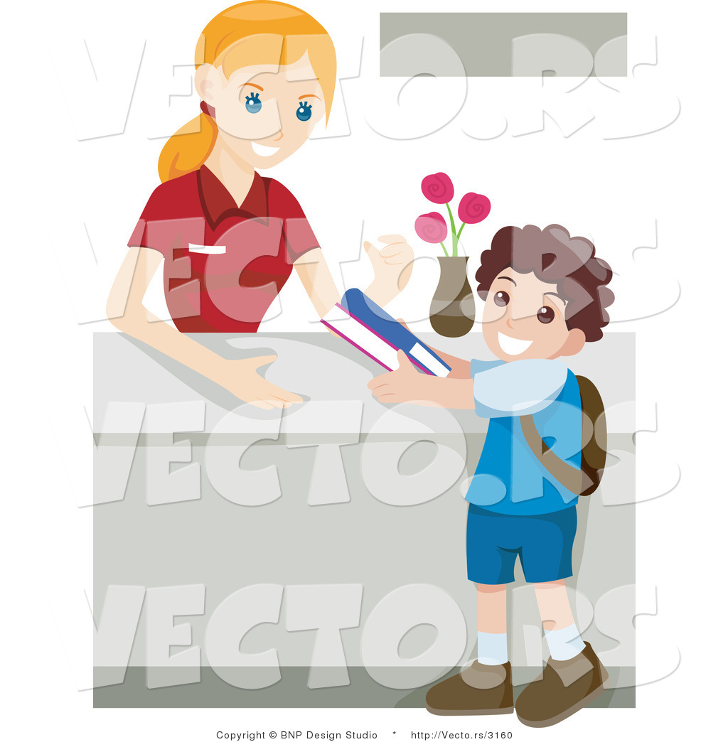 Vector of Young Boy Returning Library Books by BNP Design Studio.