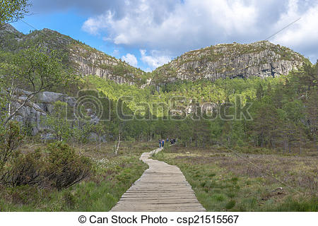 Stock Image of Hikers returning from Pulpit Rock in Norway.