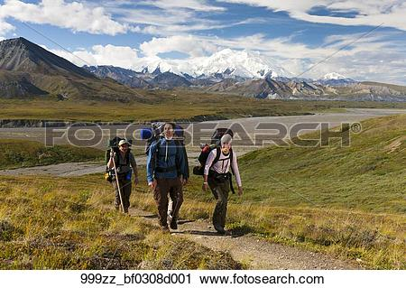 Stock Photography of Group of young adults returning to Eielson.