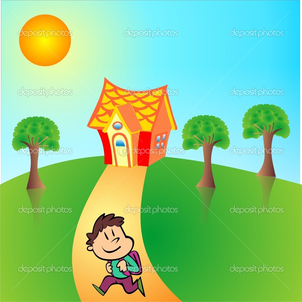Kids Returning From Vacation Clipart.