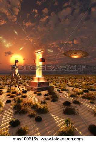Stock Illustration of An alien returning to the famous crash site.
