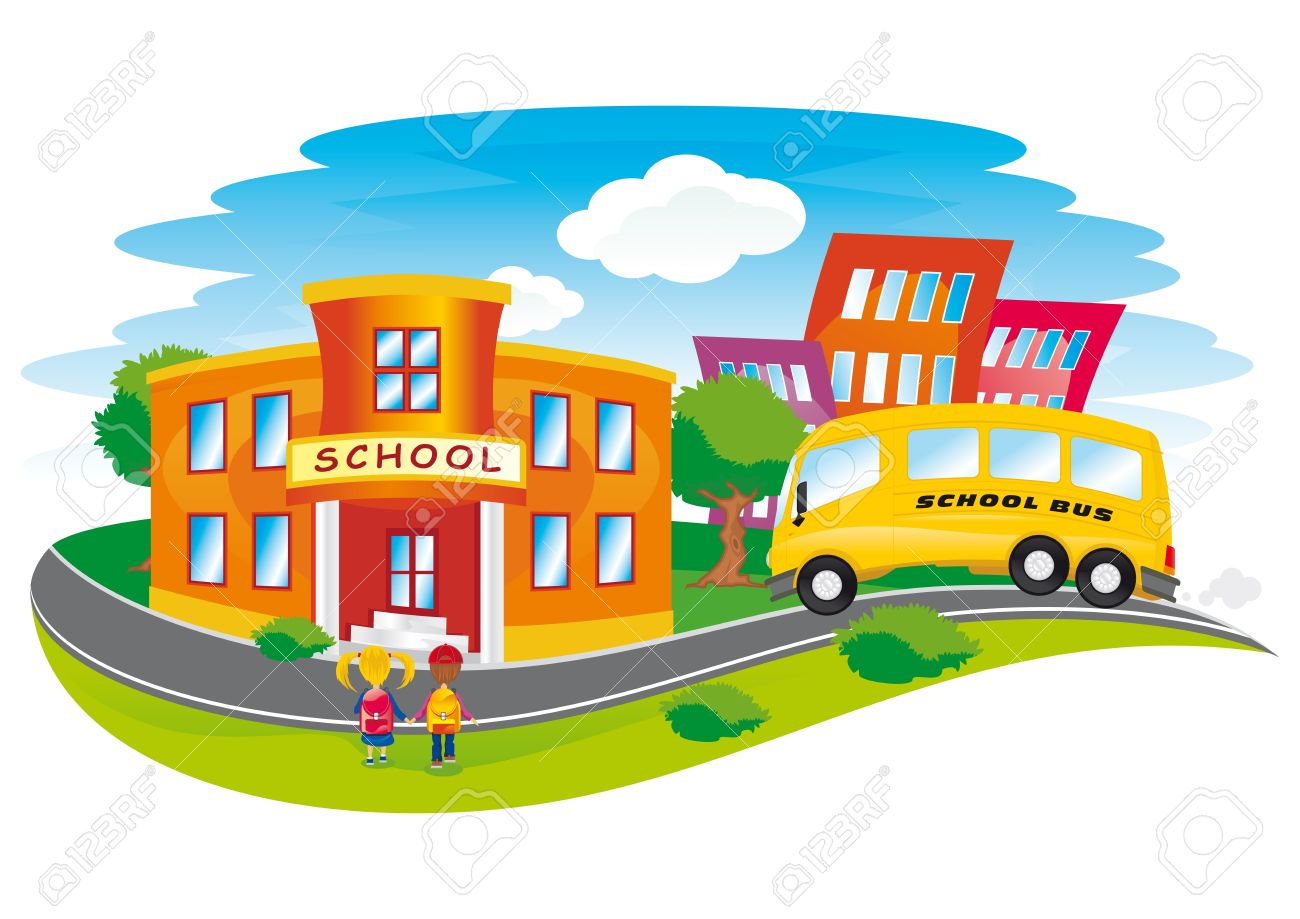 Scene With Children Returning To School In A Colorful City Royalty.