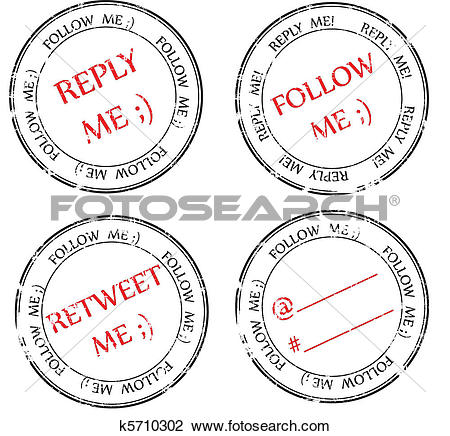 Clipart of set of stamps to Twitter: follow, reply, retweet.