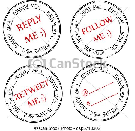 Vector Illustration of set of stamps to Twitter: follow, reply.