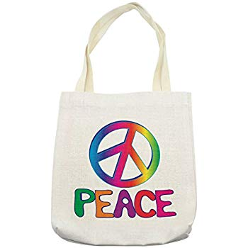 Amazon.com: Lunarable 1960s Tote Bag, Peace Text with Peace.